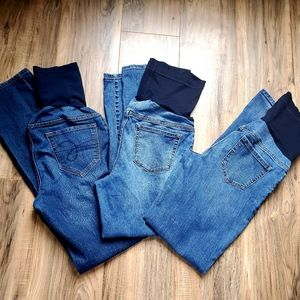 Bundle of full panel maternity jeans